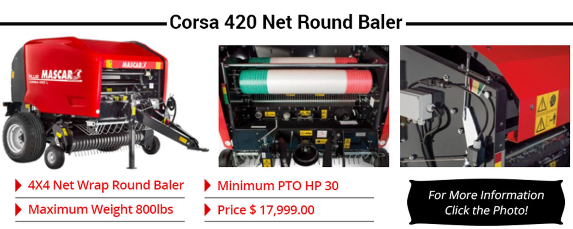 corsa 420 net round baler banner